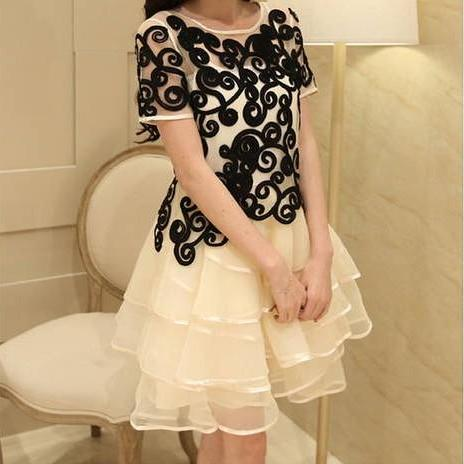Embroidered Organza Dress AFBEDD