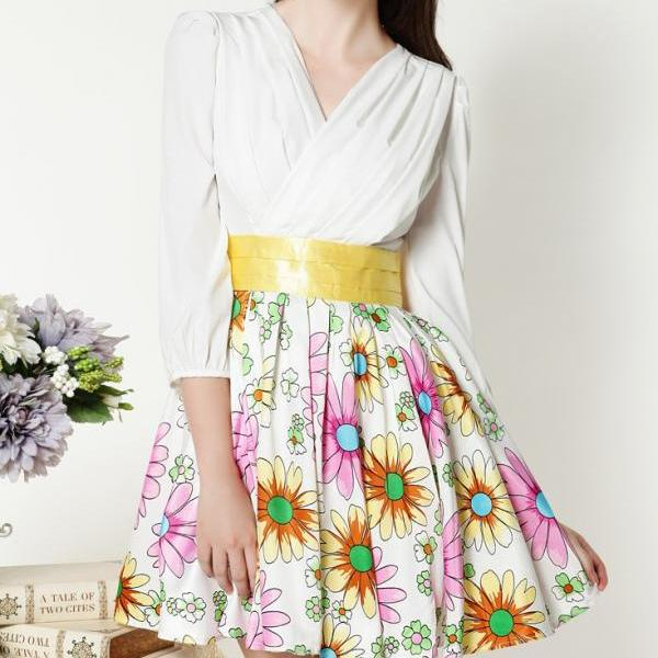 Stitching Daisy Jacquard Dress AECACG