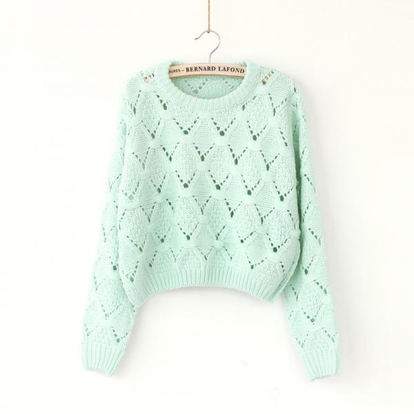 Hollow Round Neck Pullover Sweater CA922DF