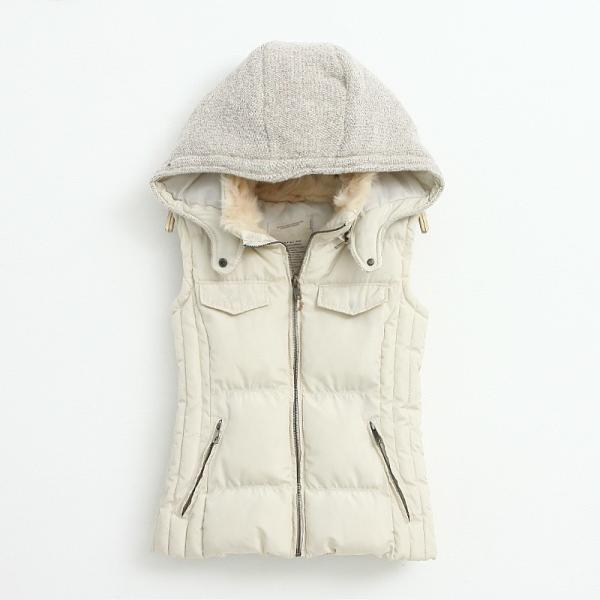 Knitting Stitching Slim Hooded Cotton Vest