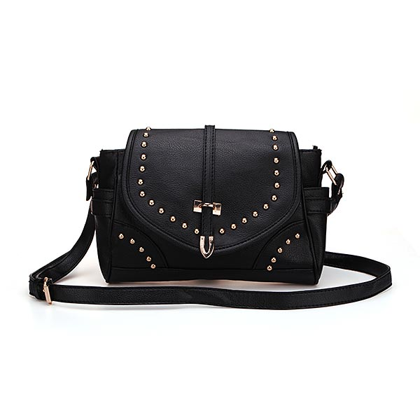 Leather Crossbody Handbag with Studded Details