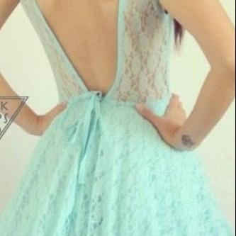 Mint Lace Backless Dress
