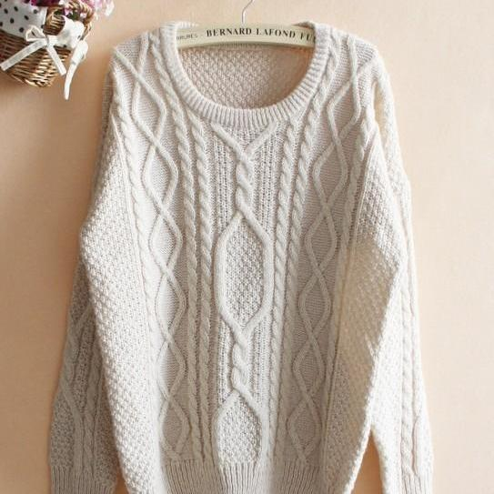 Beige Loose Hemp Flowers Retro Sweater