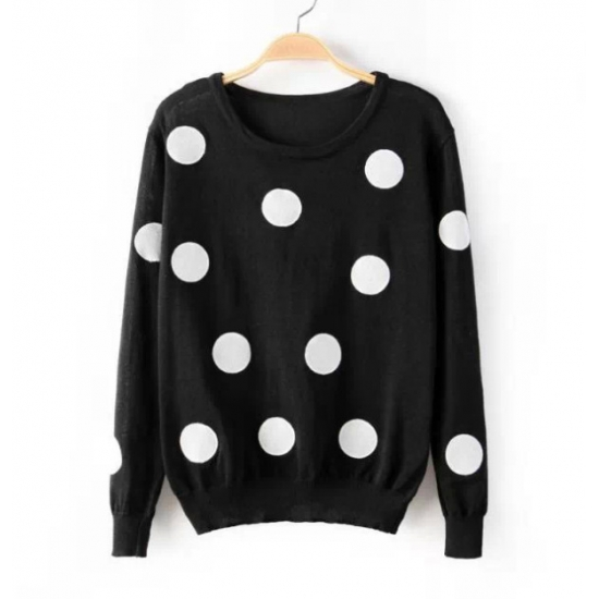 Black Crew Neck Long Sleeves Pullover featuring White Polka Dots