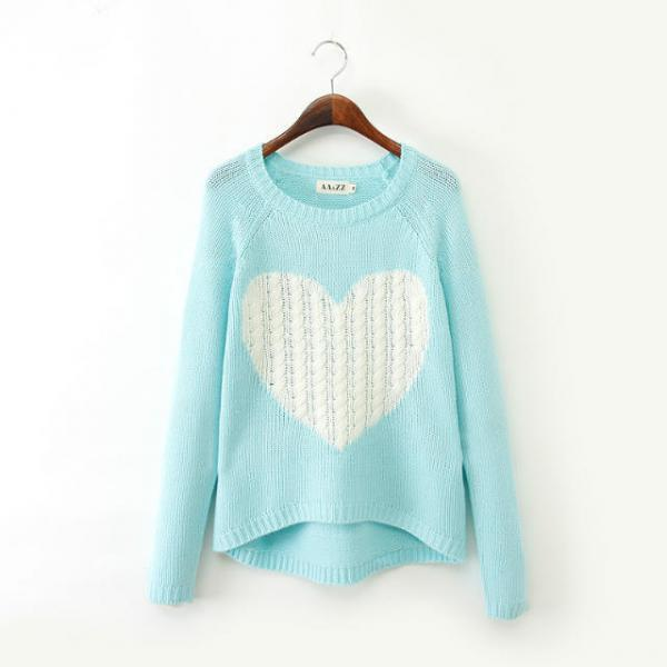 Love Round Neck Long-sleeved Sweater Pattern Sweater