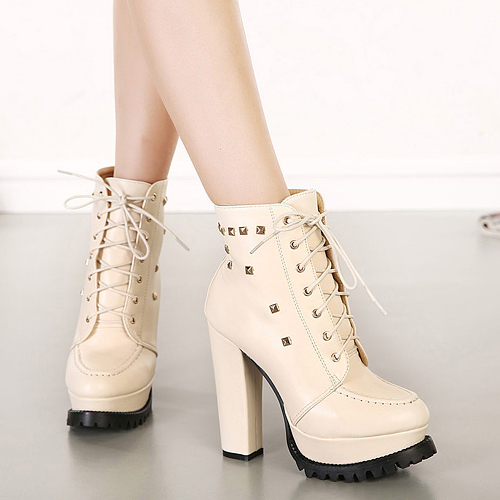 Cheap Spring Autumn Round Toe Rivets Decorated Lace-up Chunky Super High Heel Apricot PU Short Cavalier Boots