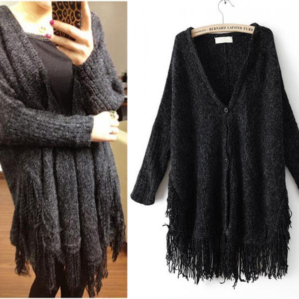 New Black Tassel Knitting Batwing Sleeve Sweater Cardigan