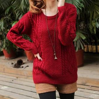 Sweet Round Neck Knit Sweater