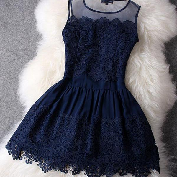 Sexy high quality Dark Blue Lace Dress