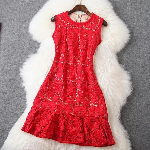 Soluble Flower Embroidery Slim Retro Dress