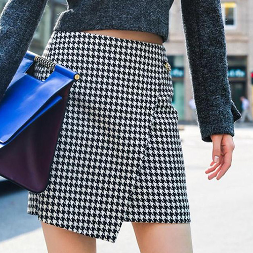 sexy Fashion Houndstooth Irregular Hem Bust Skirt