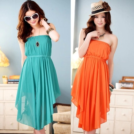 sexy fashion Charming Chiffon Irregular Skirt Strapless Dress