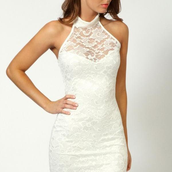 Sexy Sleeveless Sexy Nightclub Lace Mini Dress