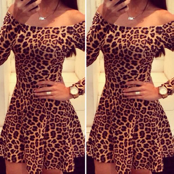 Fashion Sexy Leopard Long-Sleeved Dress