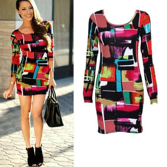Sexy Women Long Sleeve Sexy Party Print Package Hip Mini Dress