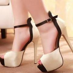 2015 new cute Fashion Stiletto High Heel Ankle Strap PU Sandals