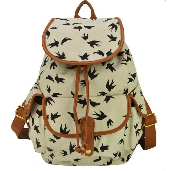 2015 new fashion Bird Print Graphic Canvas Girl Backpack