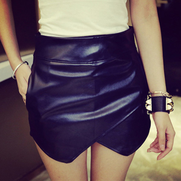 2015 Spring Summer Fall Sexy Pu Leather Mini Skirt
