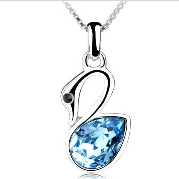 2015 new fashion sexy cute Swan Crystal Pendant Necklace