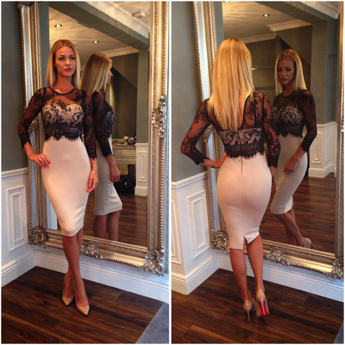 Sexy Women Lace Legging Splice Slim Bodycon Party Cocktail Evening Pence dress