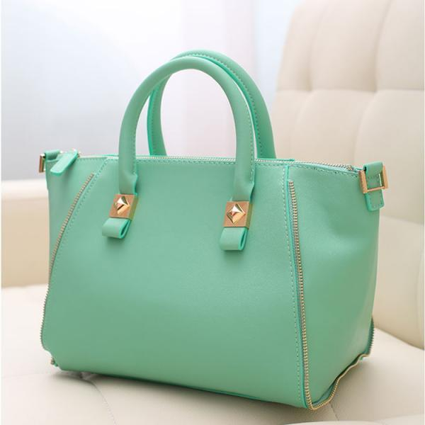 2015 Newest Best Fashion Faux PU Solid Color Zipper Up Dumpling Shape Soft Hand Bags