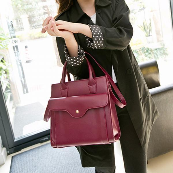 Front Flap Square Handbag with Shoulder Strap