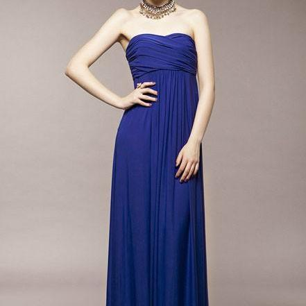 2015 Hot sale Blue Strapless Pleated Chiffon Dress for women