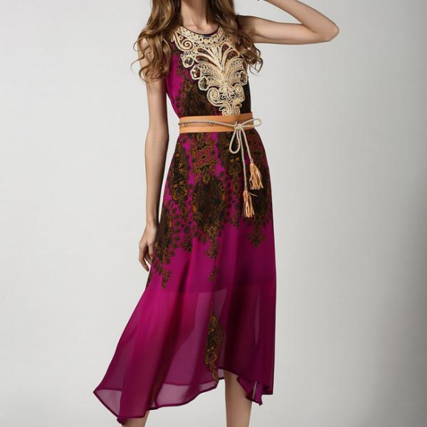 Hot sale Vintage Style Ethnic Print Sequins Decorated Embroidery Sleeveless Elegant Dress With Belt
