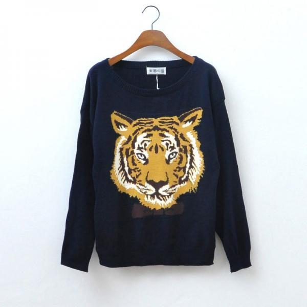 Hot sale Nice Blue Tiger Head Sleeve Sweater for women