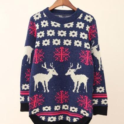 Long Sleeve Knitted Reindeer Christmas Sweater