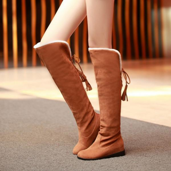 Beautiful Brown Lace Up Back Knee High Boots P15ZOL0J6C6MA6FQPG124 FCWKOC87FJW