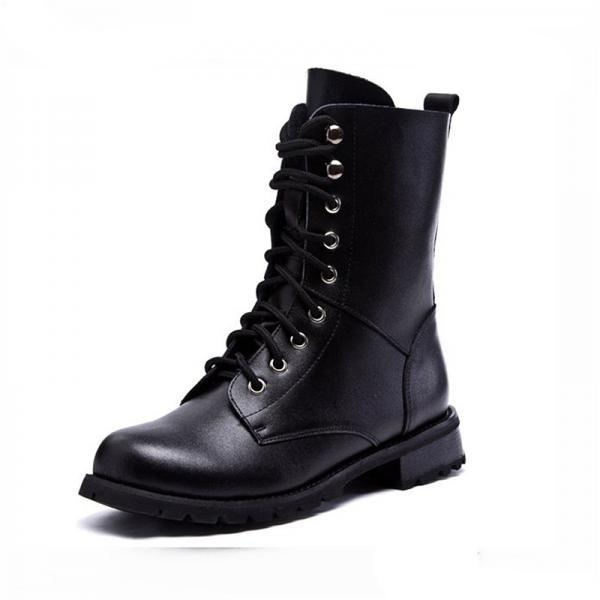 Black Classics Lace Up Leather High Boots J3WY4D6UD3QRD7LLZCRNW 5ESZXVMS5EX