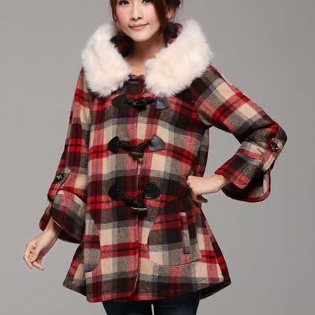Red Plaid Fashion Coat