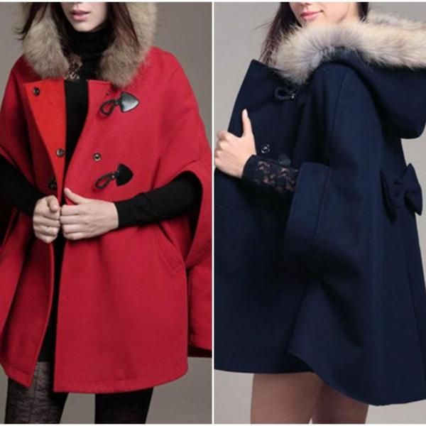 Stylish Faux Fur Hooded Coat With Bow for women