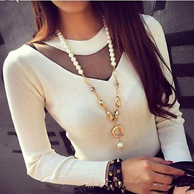 Women's Gauze Spliced Casual Round Collar Pullover Sweater for 2015 autumn winter