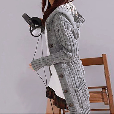 2015 Autumn and winter Women's Solid Hooded Long Cardigan with long sleeve
