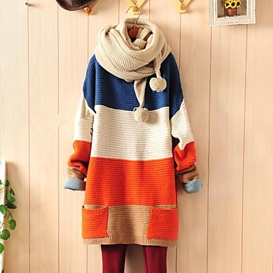 2015 autumn winter Women's Color Block Blue/Orange Casual Long Sleeve Loose Sweater with Pocket