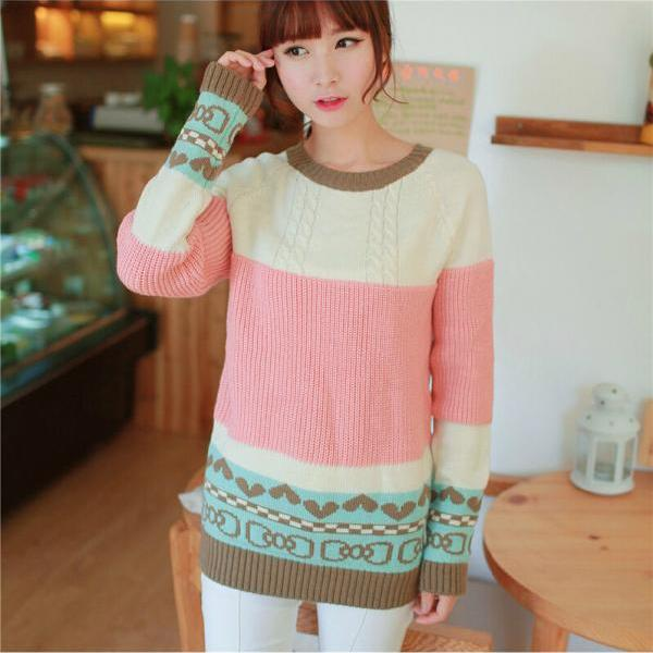 Hot sale Fashion Love Mixed Colors Bow Printed Sweater&Cardigant for women