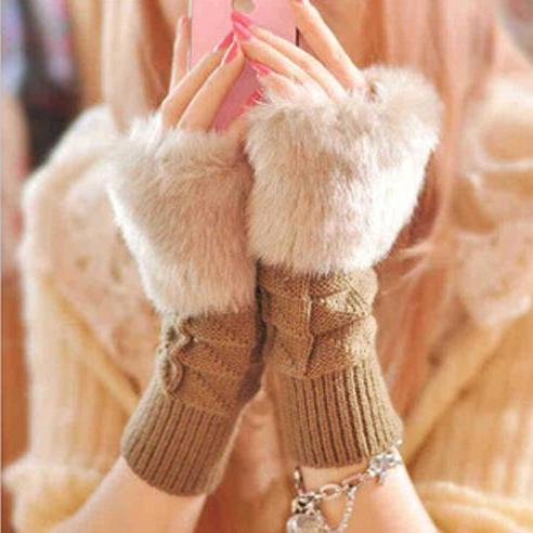Women's Plaid Short Paragraph Warm Knitted Gloves for 2015 winter