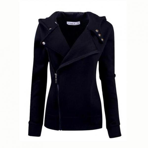 2015 Hot sale Autumn New Arrival Black Color Wide Lapel Zip-Front Jacket