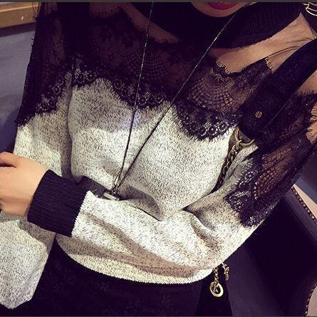 Retro Elegance Stitching Pullover Sweater