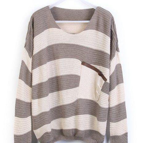 Loose Grey Striped Sweater With Pocket