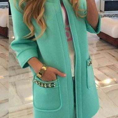 Fashion Three Quarter Sleeve Pocket Embellished Coat (3 Colors)