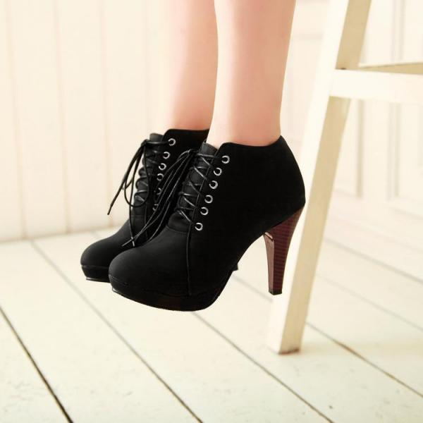 Round Toe Stiletto High Heel Lace Up Ankle Black Boots