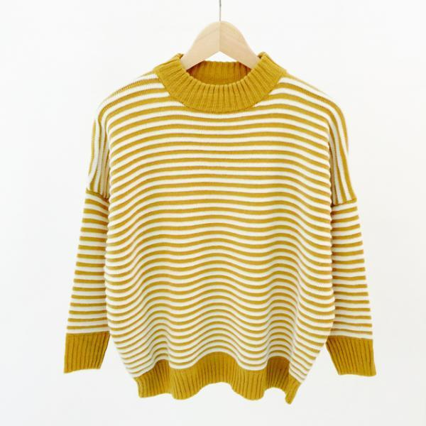 Striped Mock Neck Long Cuffed Sleeves Sweater