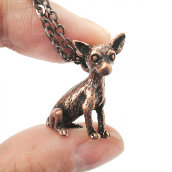 3D Detailed Chihuahua Animal Charm Dog Lover Themed Necklace In Copper