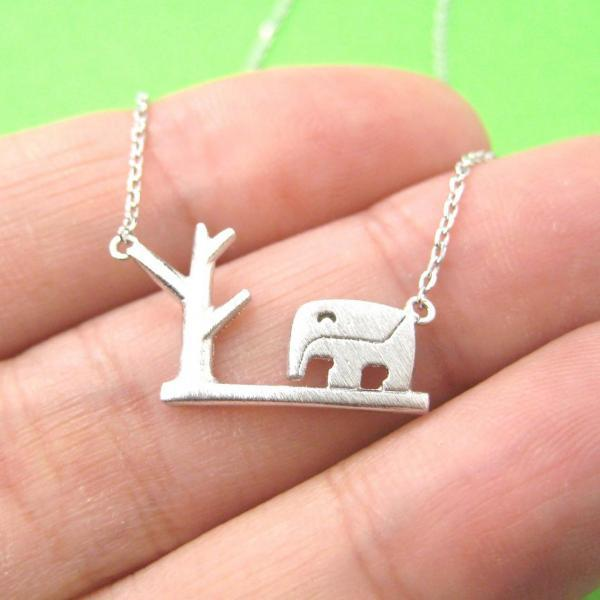 Elephant In The Wild Shaped Animal Silhouette Charm Necklace In Silver