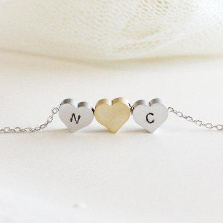 Personalized Initial Three Heart Necklace Initial Jewelry