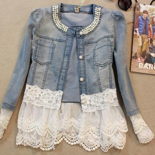 Spring Fashion Women Slim Lace Patchwork Long-Sleeve Denim Short Outerwear Jacket