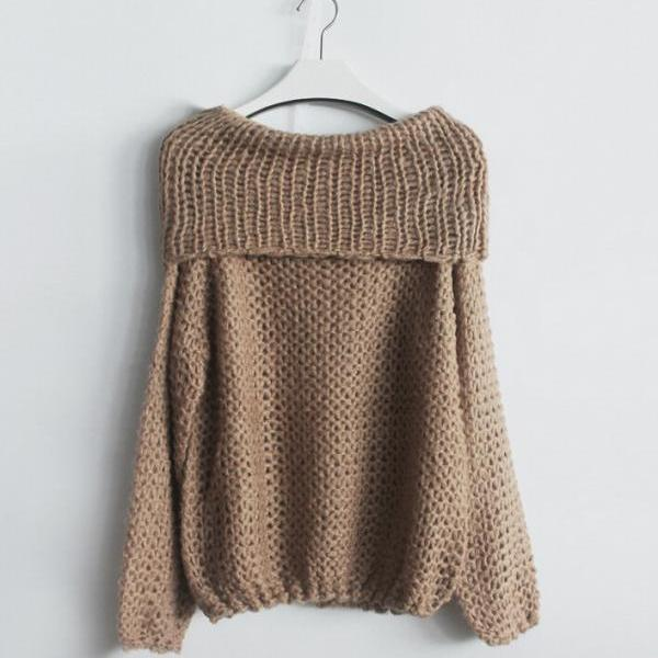 Women'S Fashion Hand Knitting Long Sleeve Collar Strapless Sweater